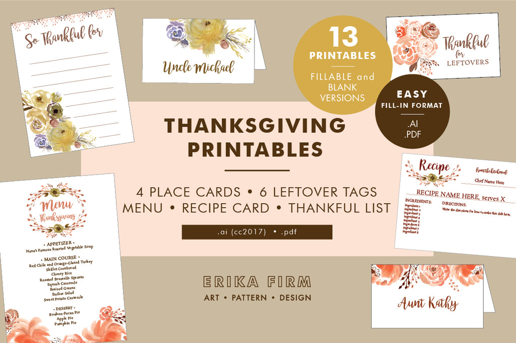 Thanksgiving Printables for Creative Market