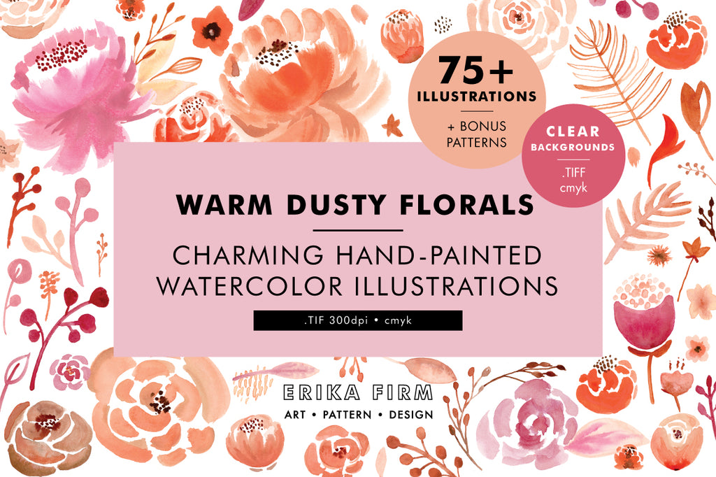 Warm Dusty Watercolor Floral Illustrations