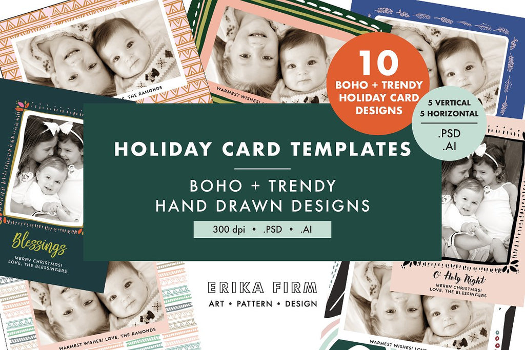 Boho Modern Christmas Card Templates
