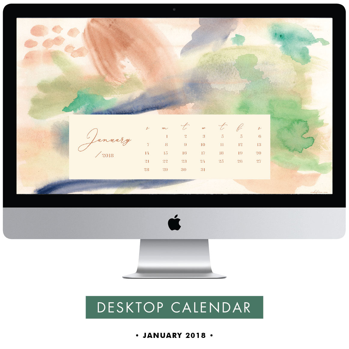 Download Free January 2018 Desktop Calendar by Erika Firm