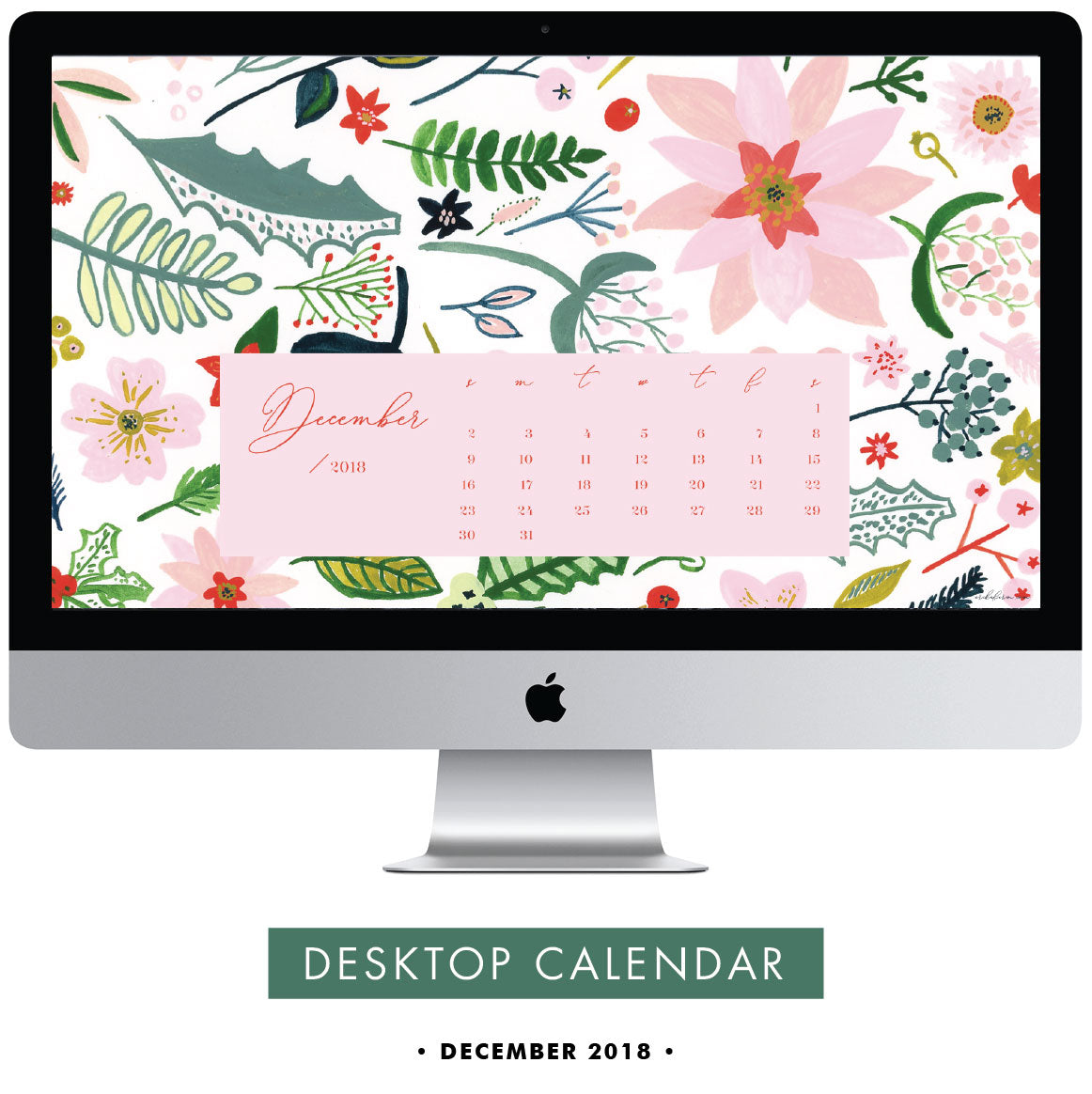 Download free December 2018 Desktop Calendar Wallpaper by Erika Firm