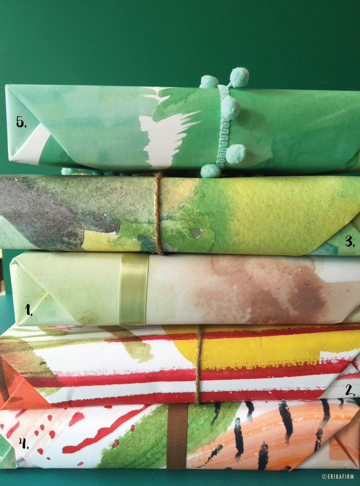 Wrapped gift boxes by Erika Firm