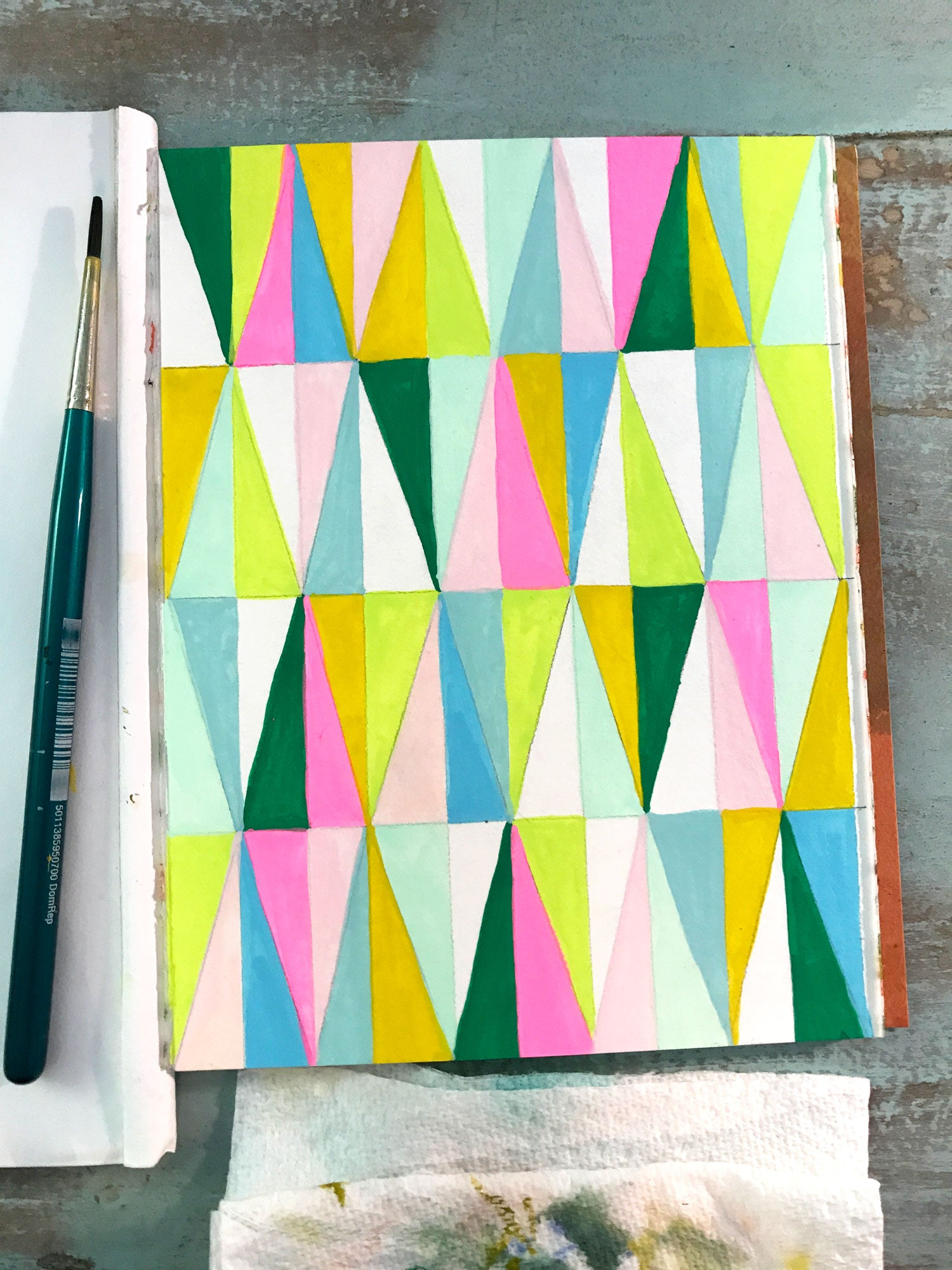 Harlequin Pattern Gouache Painting by Erika Firm