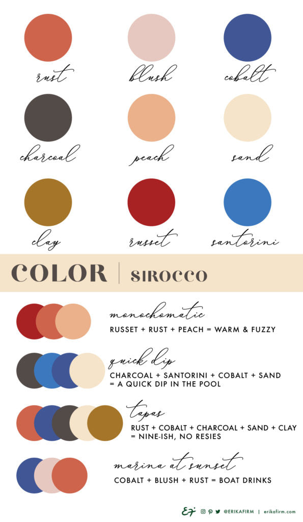 Sirocco color palette by Erika Firm Terracotta Rust Sunset Cobalt Blue Blush Clay
