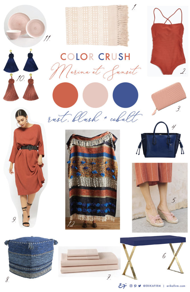 Color crush on Marina at Sunset terracotta rust blush pink cobalt blue color palette by Erika Firm
