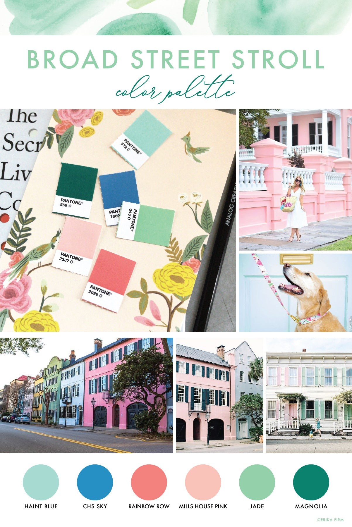 Color Palette inspired by Broad Street Charleston South Carolina by Erika Firm