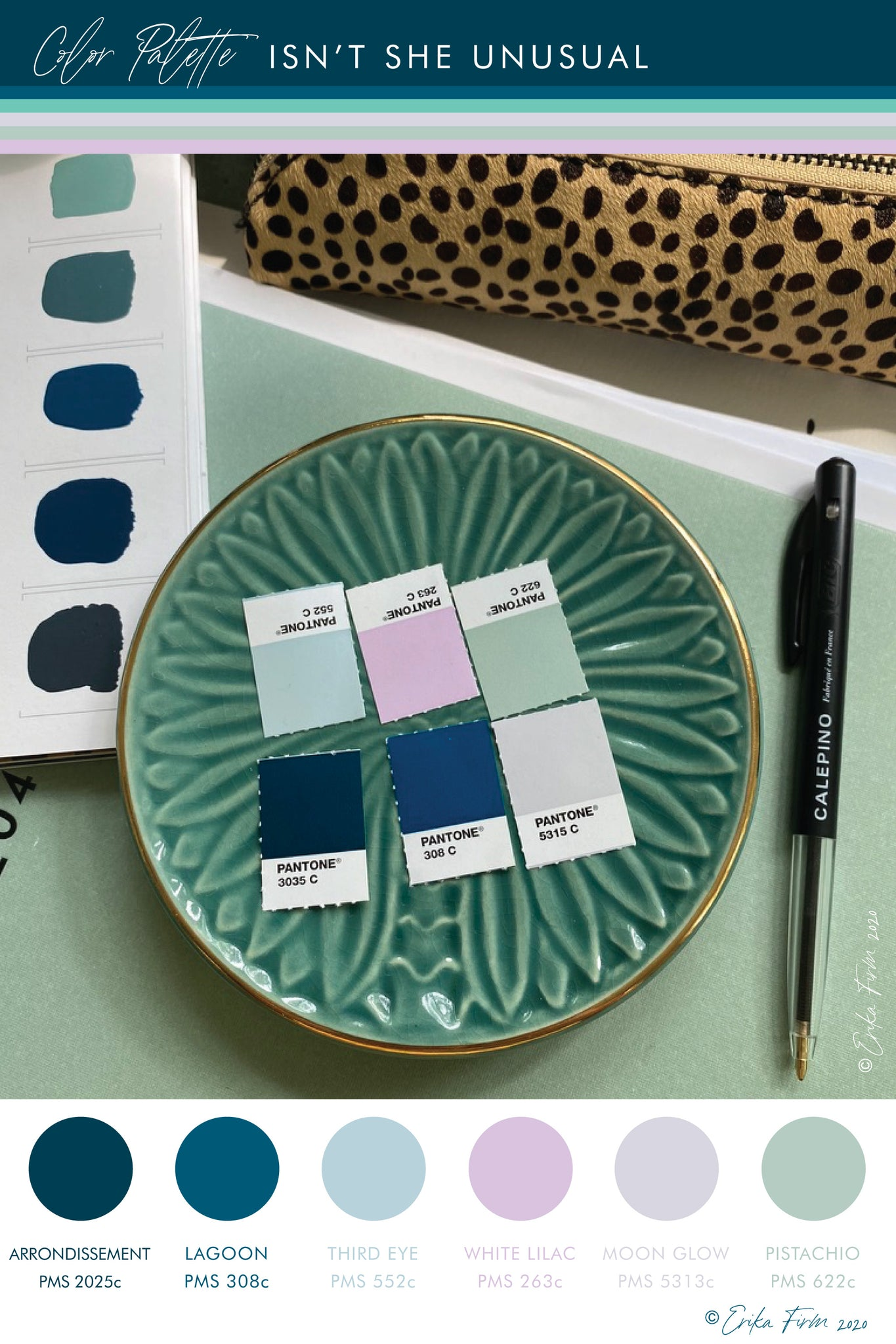 Color Palette Isn't She Unusual by Erika Firm featuring Dark Arrondissement Blue, Lagoon blue, third eye blue, white lilac, moon glow grey, and pistachio green