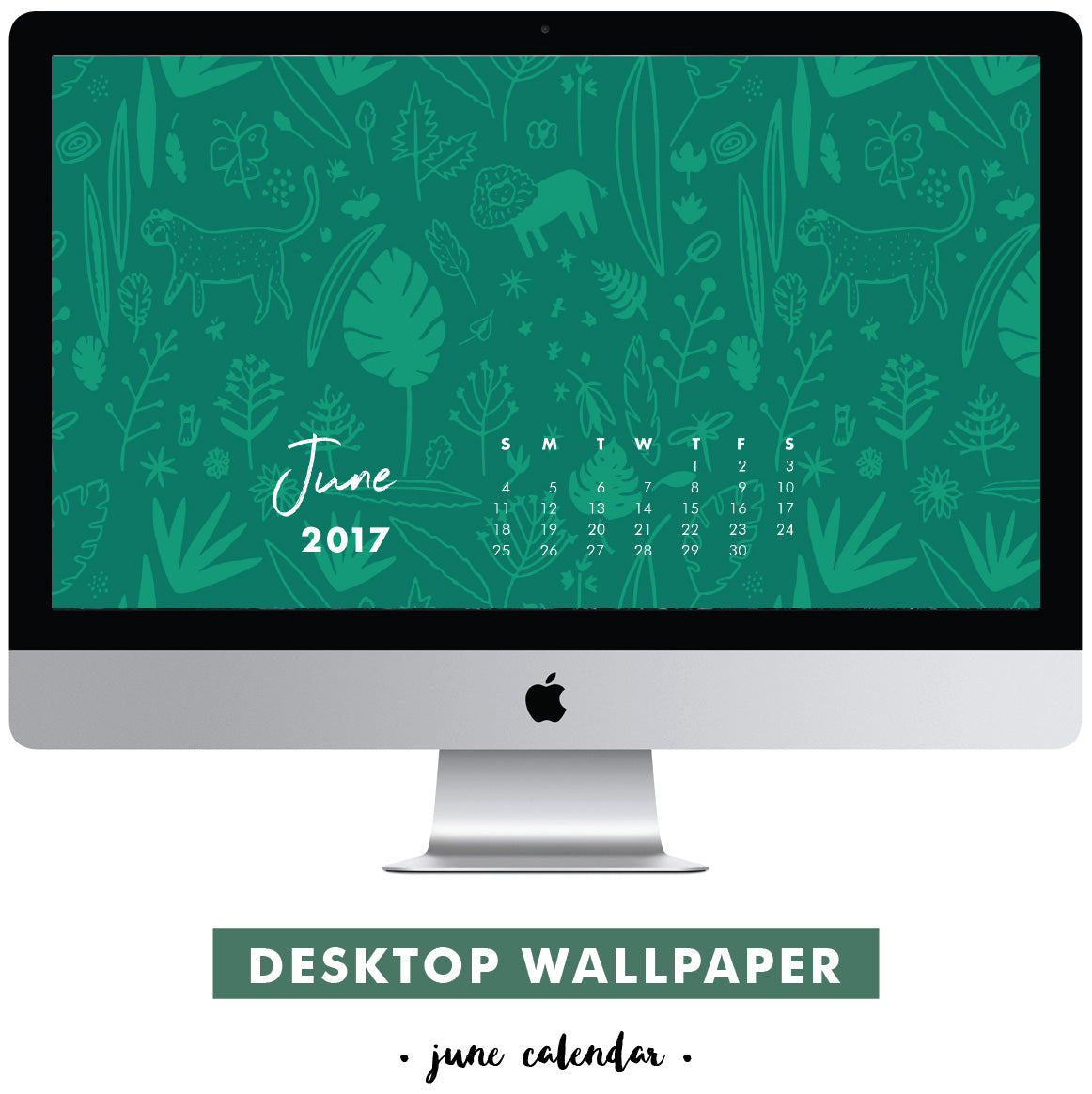 Free desktop calendar June 2017 Jungle Tiger by Erika Firm