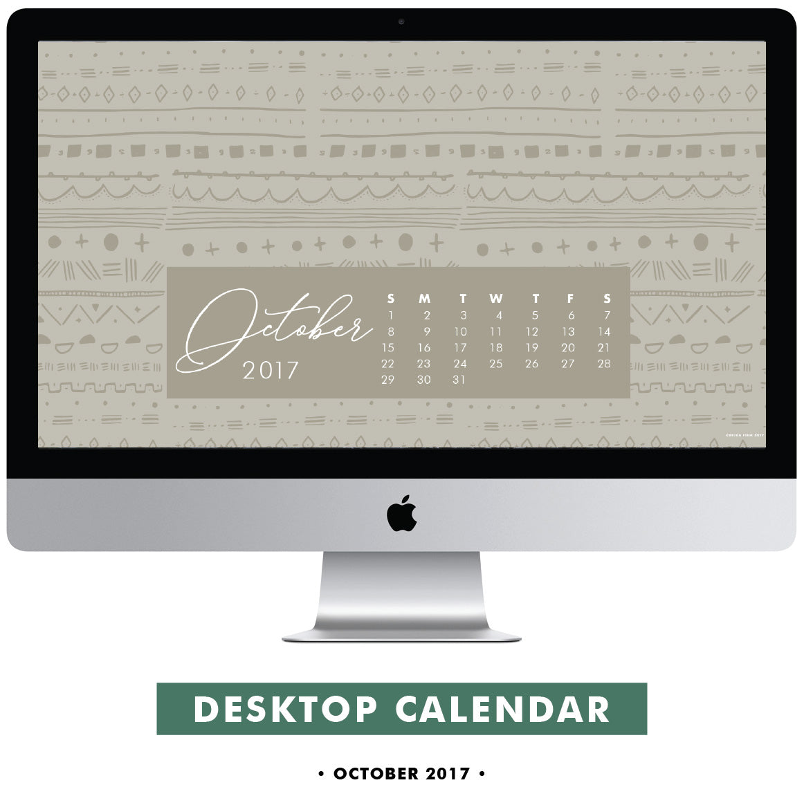 Download Free Warm Grey Mudcloth Pattern Desktop Wallpaper October 2017 Calendar by Erika Firm