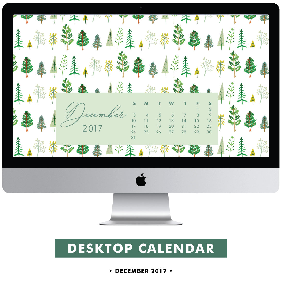 December 2017 Free Desktop Calendar Download by Erika Firm