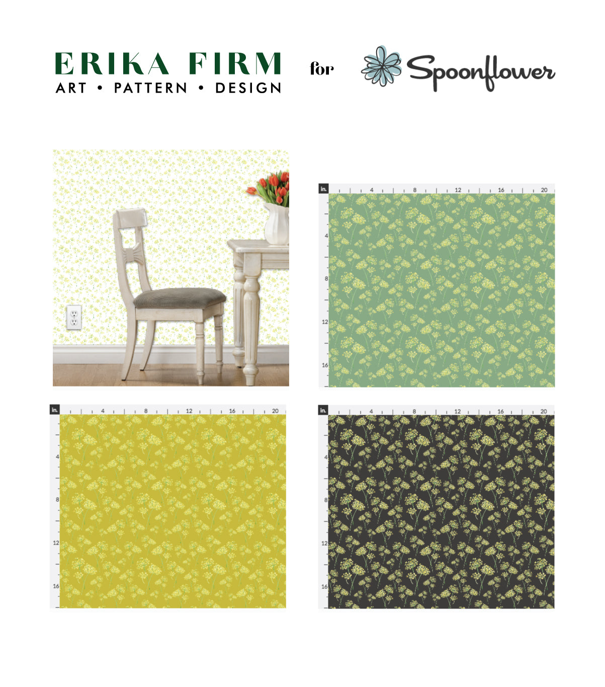 Dill weed pattern by Erika Firm for Spoonflower fabric wallpaper gift wrap