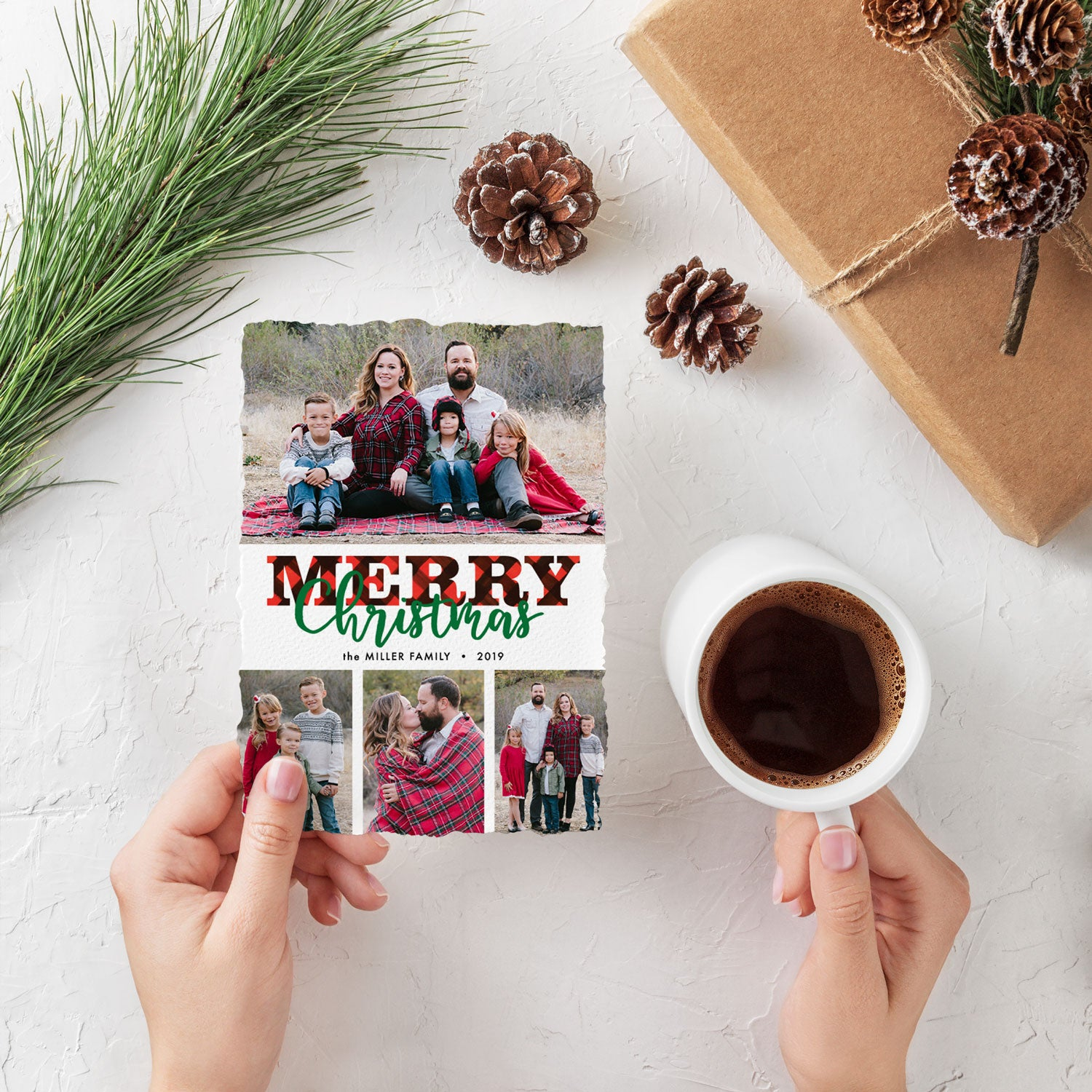 Bold Plaid 4 photo Christmas card by Erika Firm for Photo Affections 2019