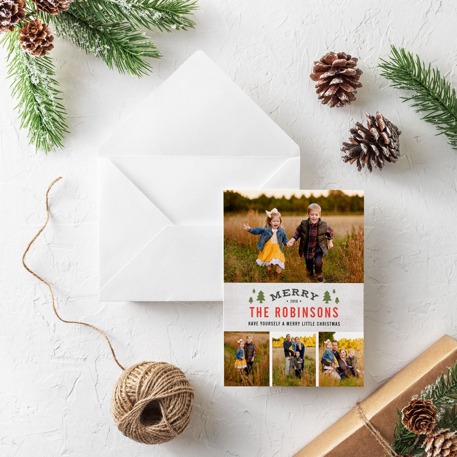 Charming Pines 3 photo christmas card by Erika Firm for Simply To Impress 2019