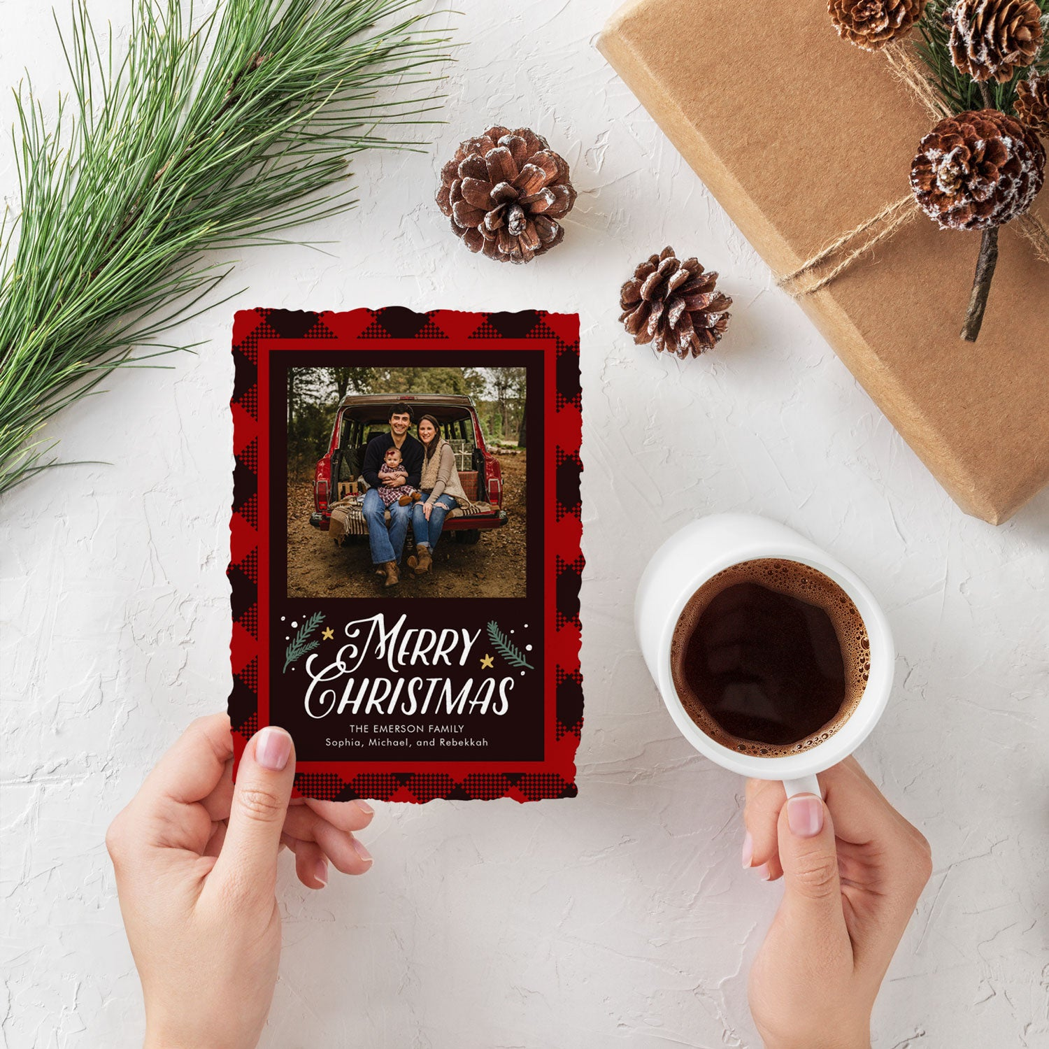 Woodland Check buffalo plaid one photo Christmas card by Erika Firm for Simply To Impress 2019