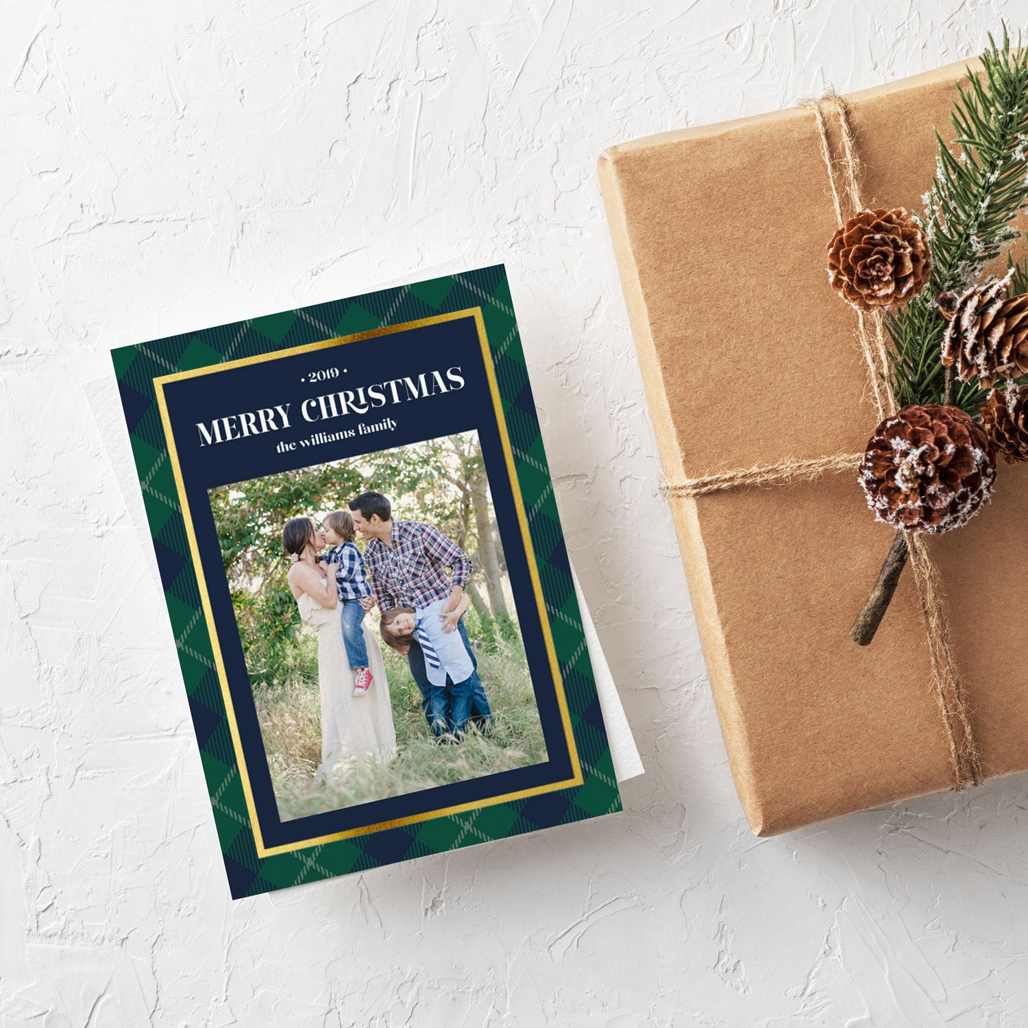 Country Club Plaid One Photo Christmas card by Erika Firm for Photo Affections