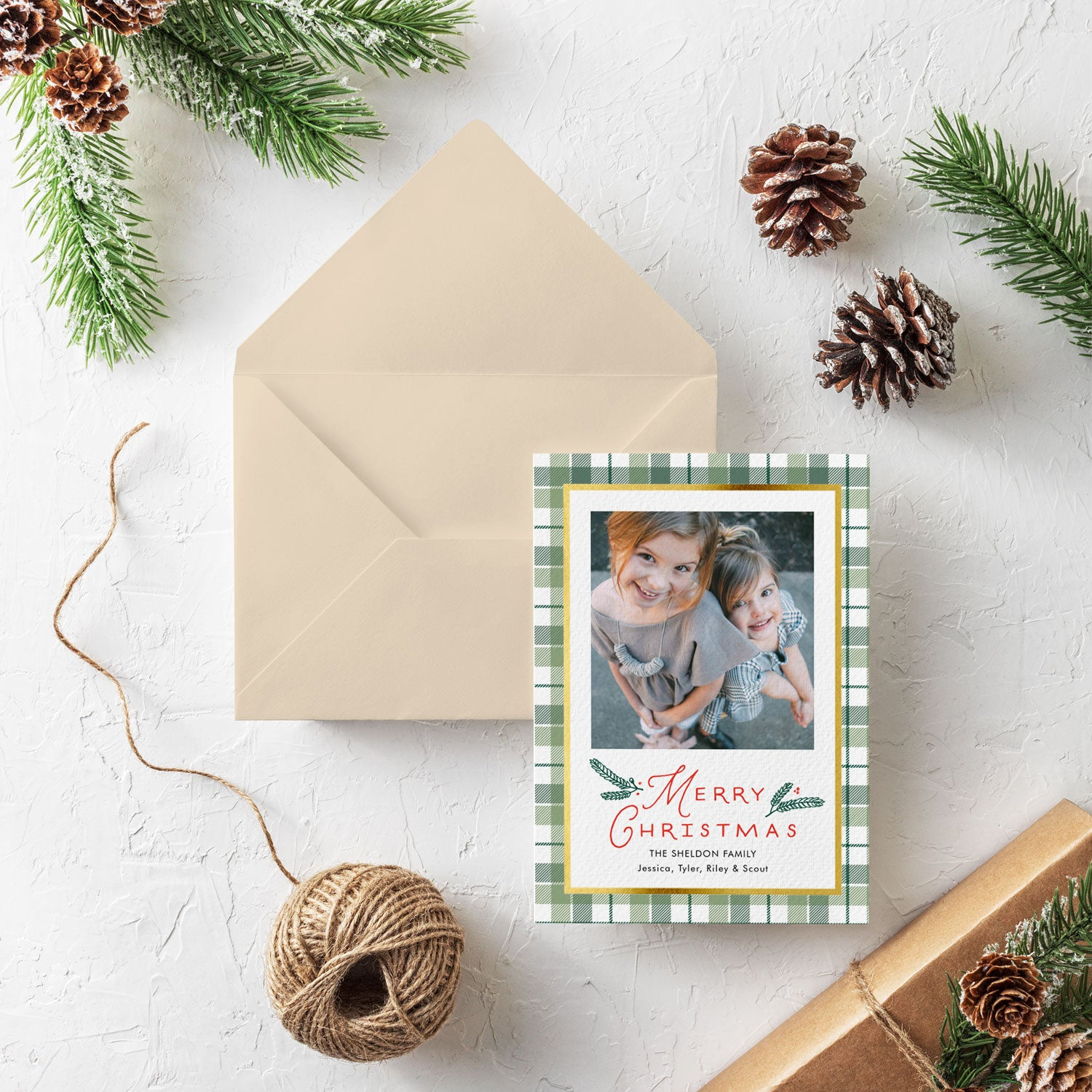 Fir Plaid one photo green plaid Christmas photo card by Erika Firm for Simply To Impress 2019