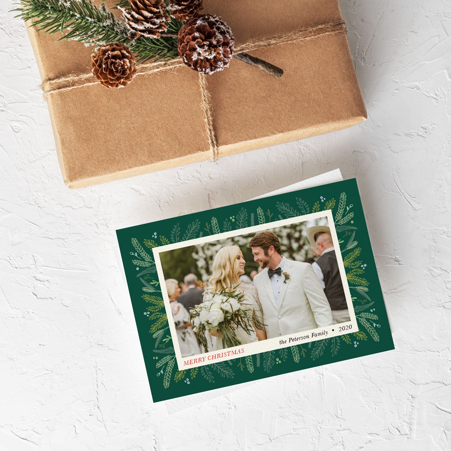 Sprigs of Pine Green christmas photo card by Erika Firm for Photo Affections 2019