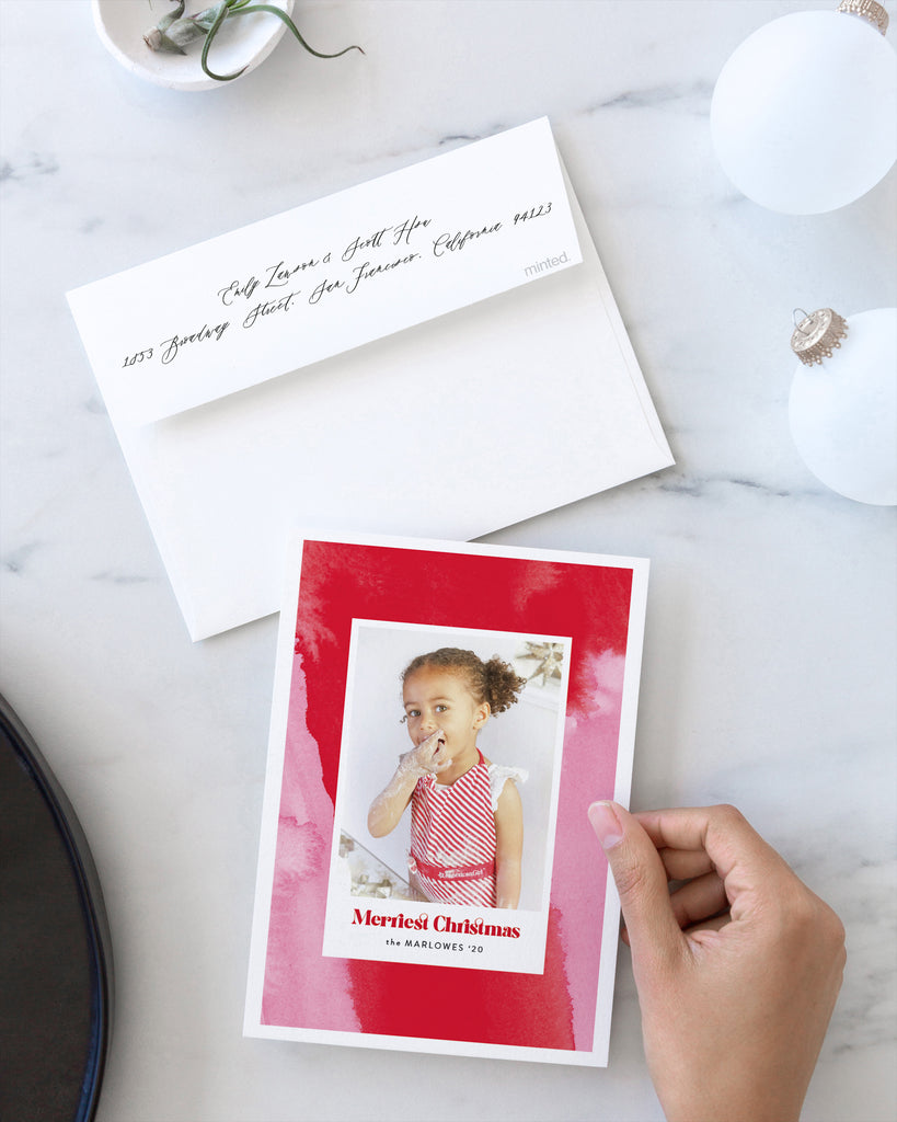 Pink and Red Peppermint holiday photo card by Erika Firm for Minted Holiday Collection 2020