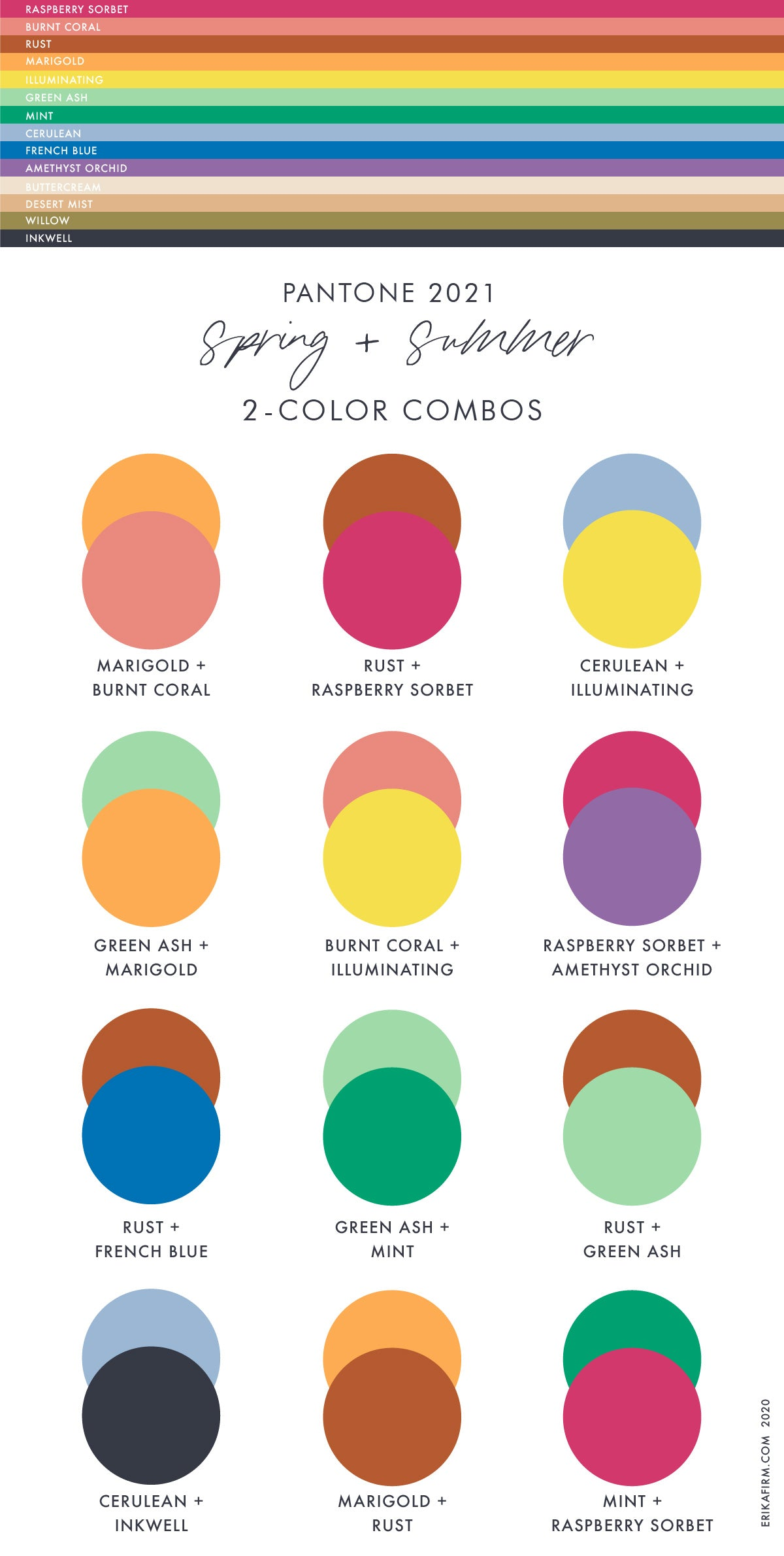 Spring 2021 Summer 2021 Pantone Color Trends Report Two Color Combinations by Erika Firm