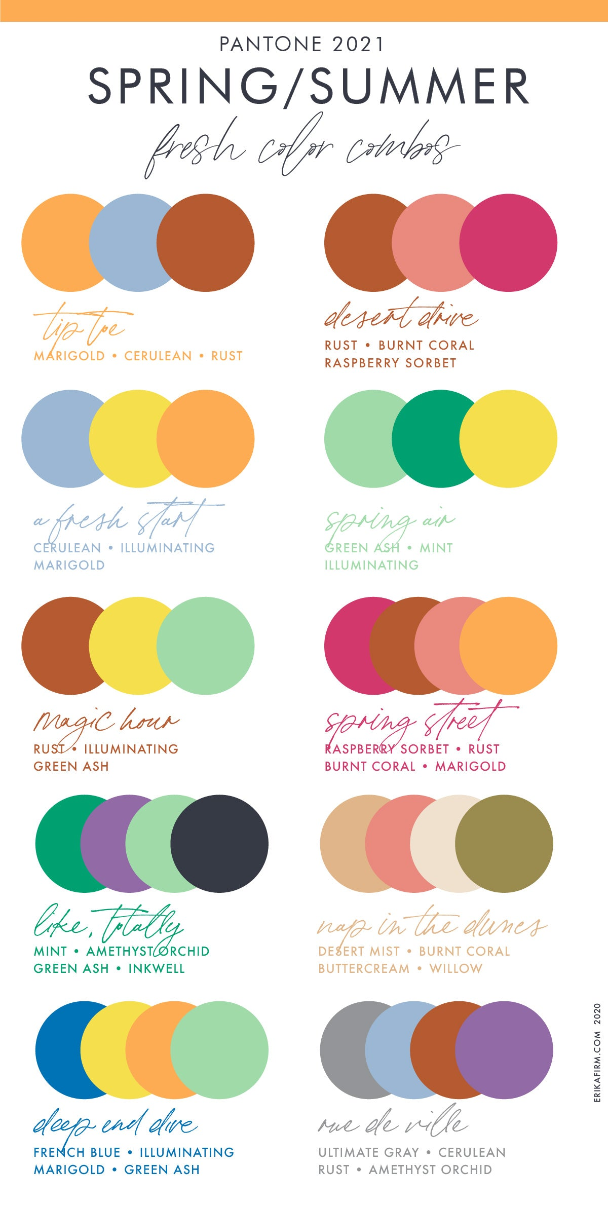 Spring 2021 Summer 2021 Pantone Color Trends Report Color Combinations by Erika Firm