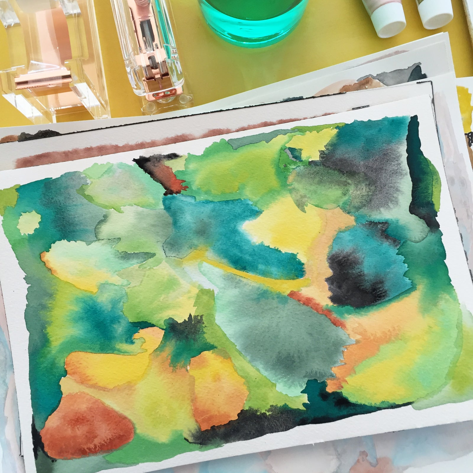 Yellow and green abstract painting by Erika Firm