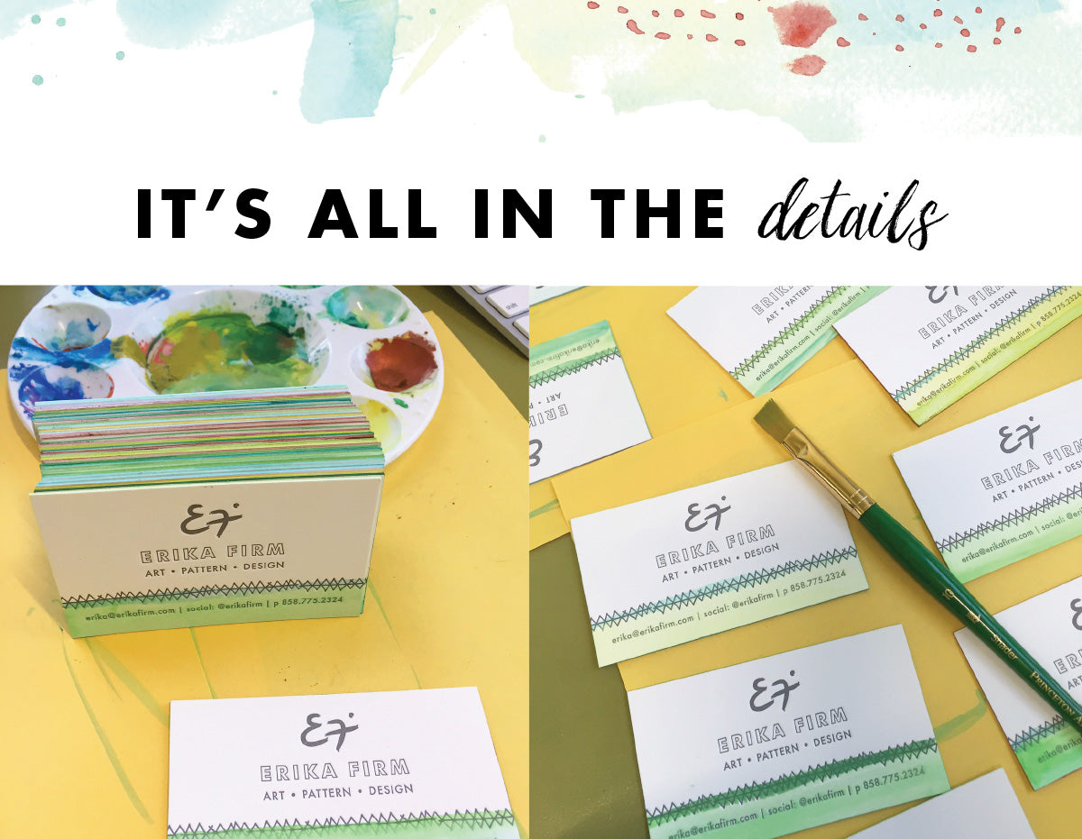 Erika Firm's letterpress and watercolor business cards