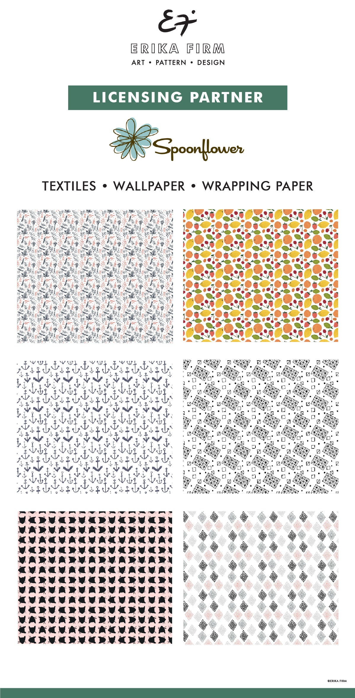 Erika Firm licenses art to Spoonflower for wallpaper and wrapping paper