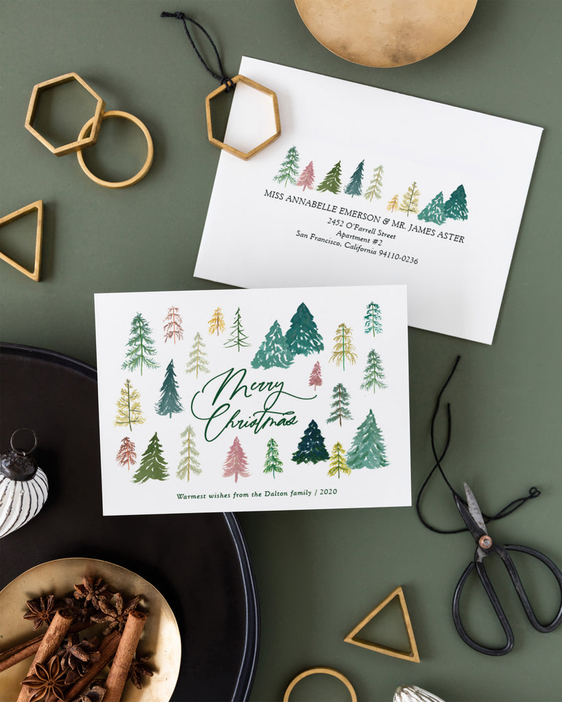 Watercolor Christmas tree lot Christmas card by Erika Firm for Minted 2020