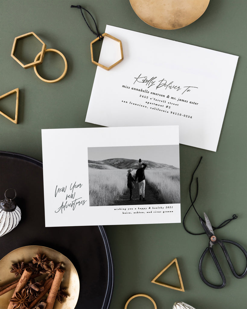 New Year New Adventures holiday photo card by Erika Firm for Minted Holiday 2020