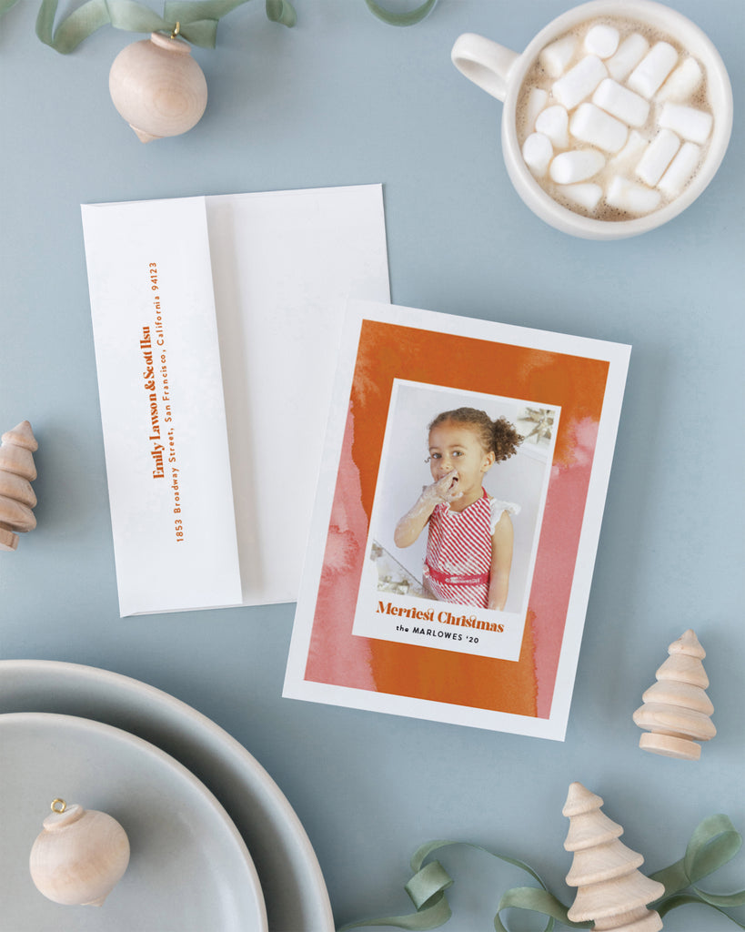 Pink and Orange Abstract Photo Frame holiday card by Erika Firm for Minted Holiday Collection 2020