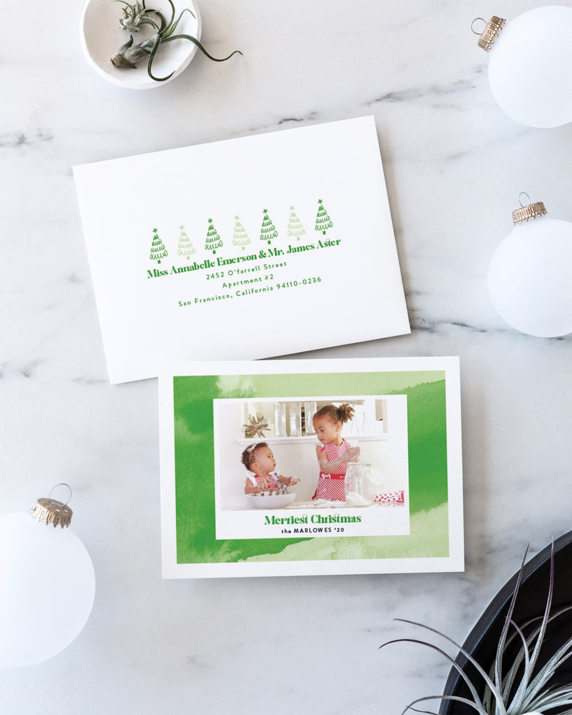 Mint Green abstract photo frame holiday card by Erika Firm for Minted Holiday 2020 Collection