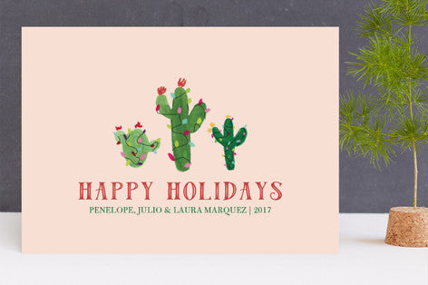 Feliz Navidad Christmas Cactus Holiday Cards by Erika Firm for Minted 2017 with Happy Holidays Message in Blush