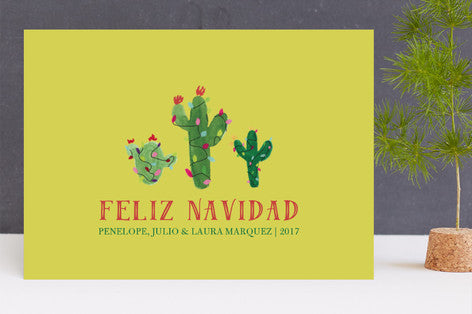 Feliz Navidad Christmas Cactus Holiday Cards by Erika Firm for Minted 2017 with Feliz Navidad message in Lime Green