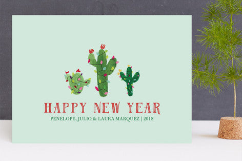 Feliz Navidad Christmas Cactus Holiday Cards by Erika Firm for Minted 2017 with Happy New Year Message in Pale Aqua Mint