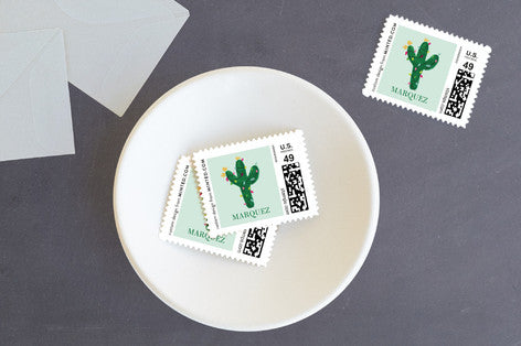 Feliz Navidad Christmas Cactus Postage Stamps by Erika Firm for Minted 2017
