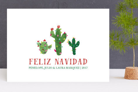 Feliz Navidad Christmas Cactus Holiday Cards by Erika Firm for Minted 2017