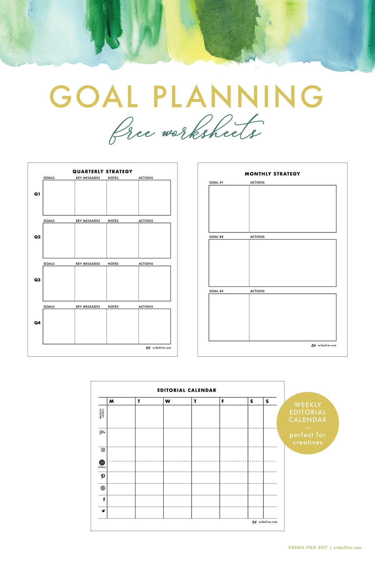 Free Goal Planning Worksheets for Creatives by Erika Firm