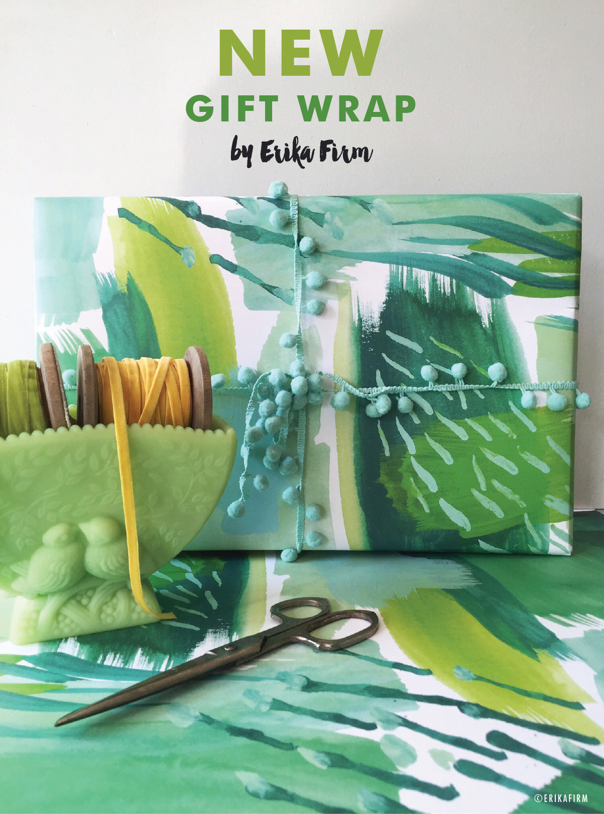 Green Abstract gift wrap by Erika Firm