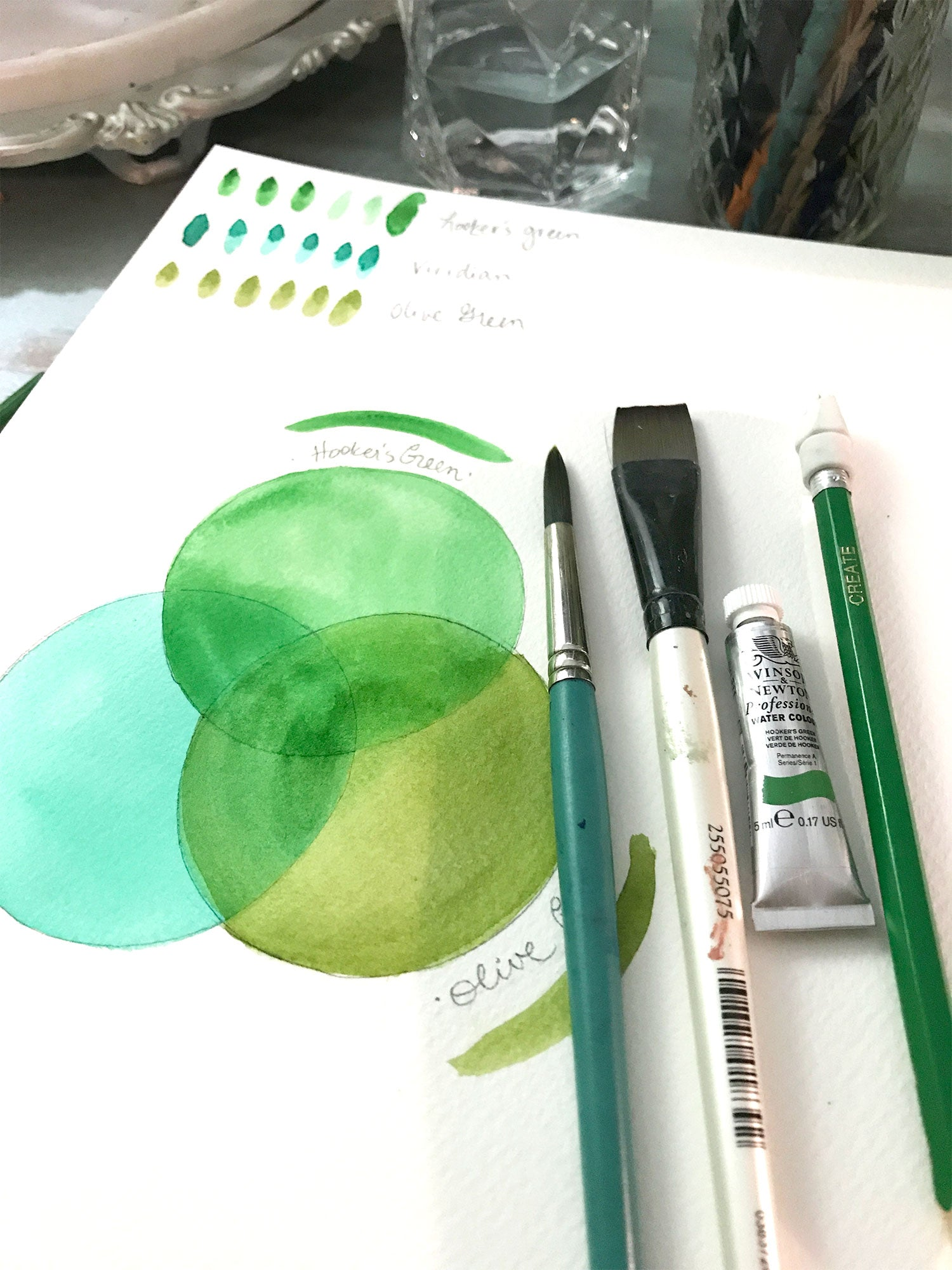 Hookers Green Veridian and Olive Green Watercolor by Erika Firm