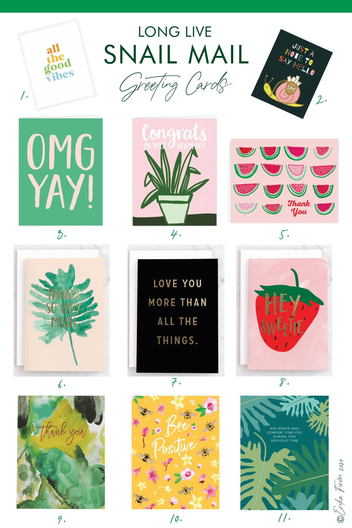 Long Live Snail Mail greeting cards by Erika Firm