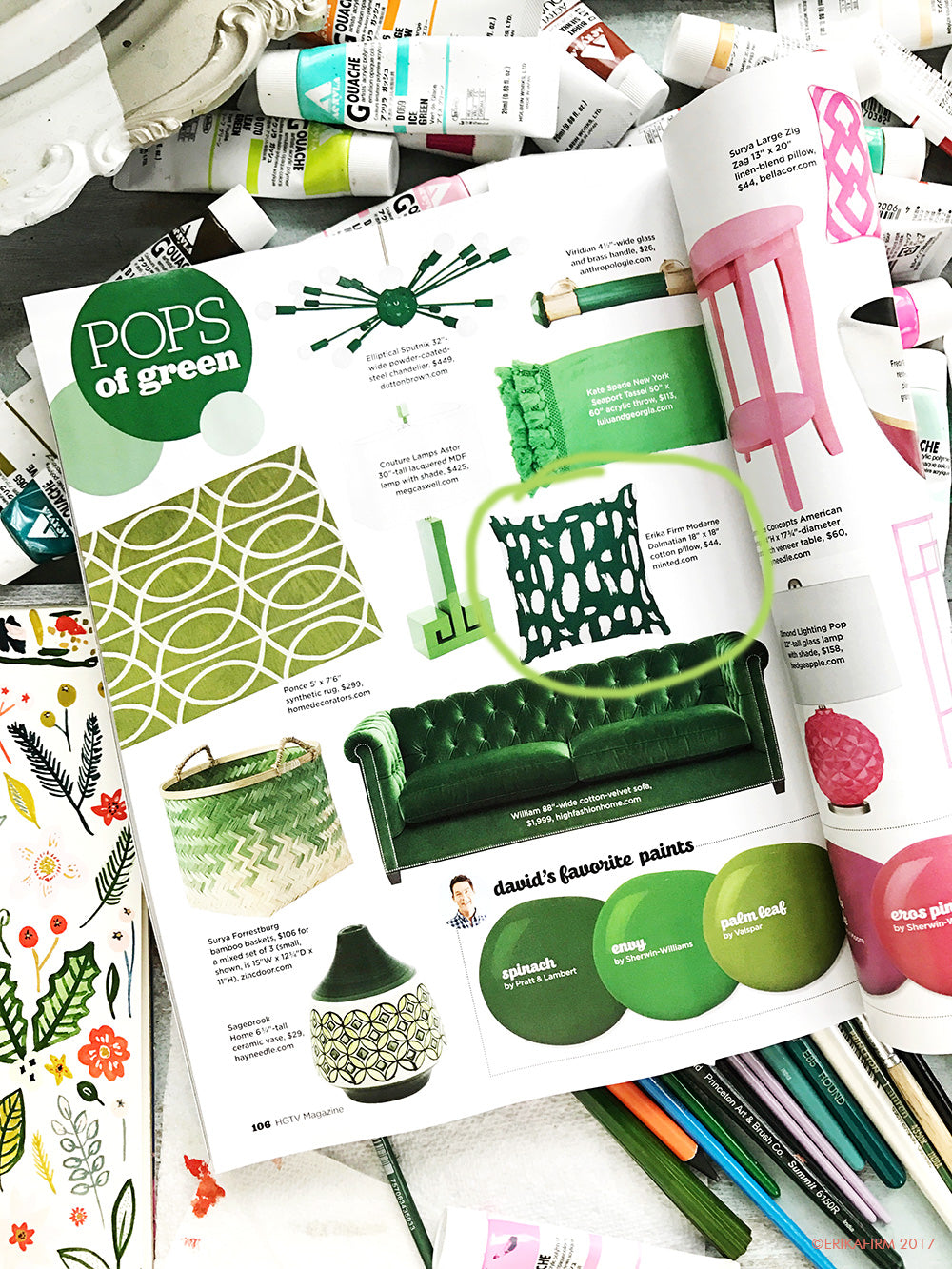 Green pillow by Erika Firm for Minted in HGTV magazine