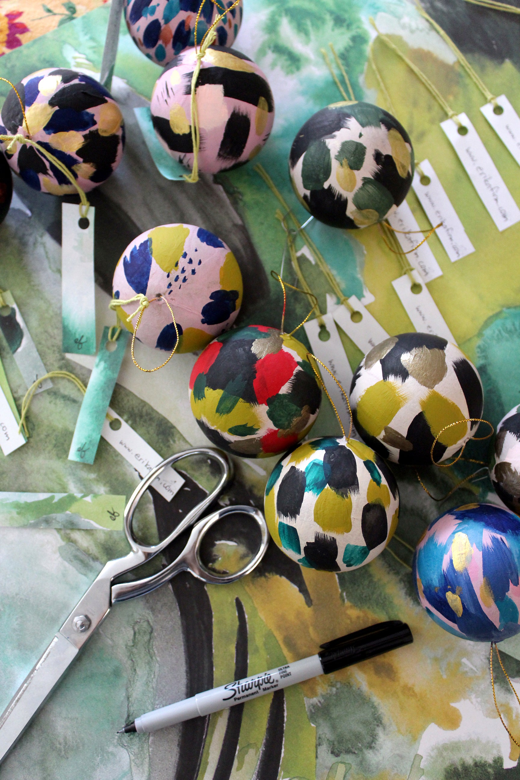 hand painted Christmas ornaments by Erika Firm