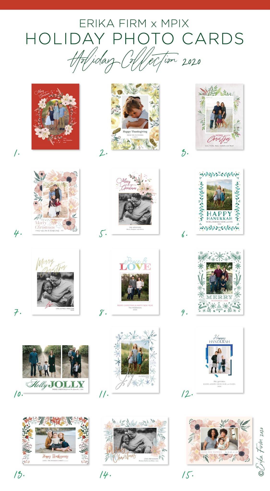 Erika Firm's holiday collection of photo cards for mPIX 2020