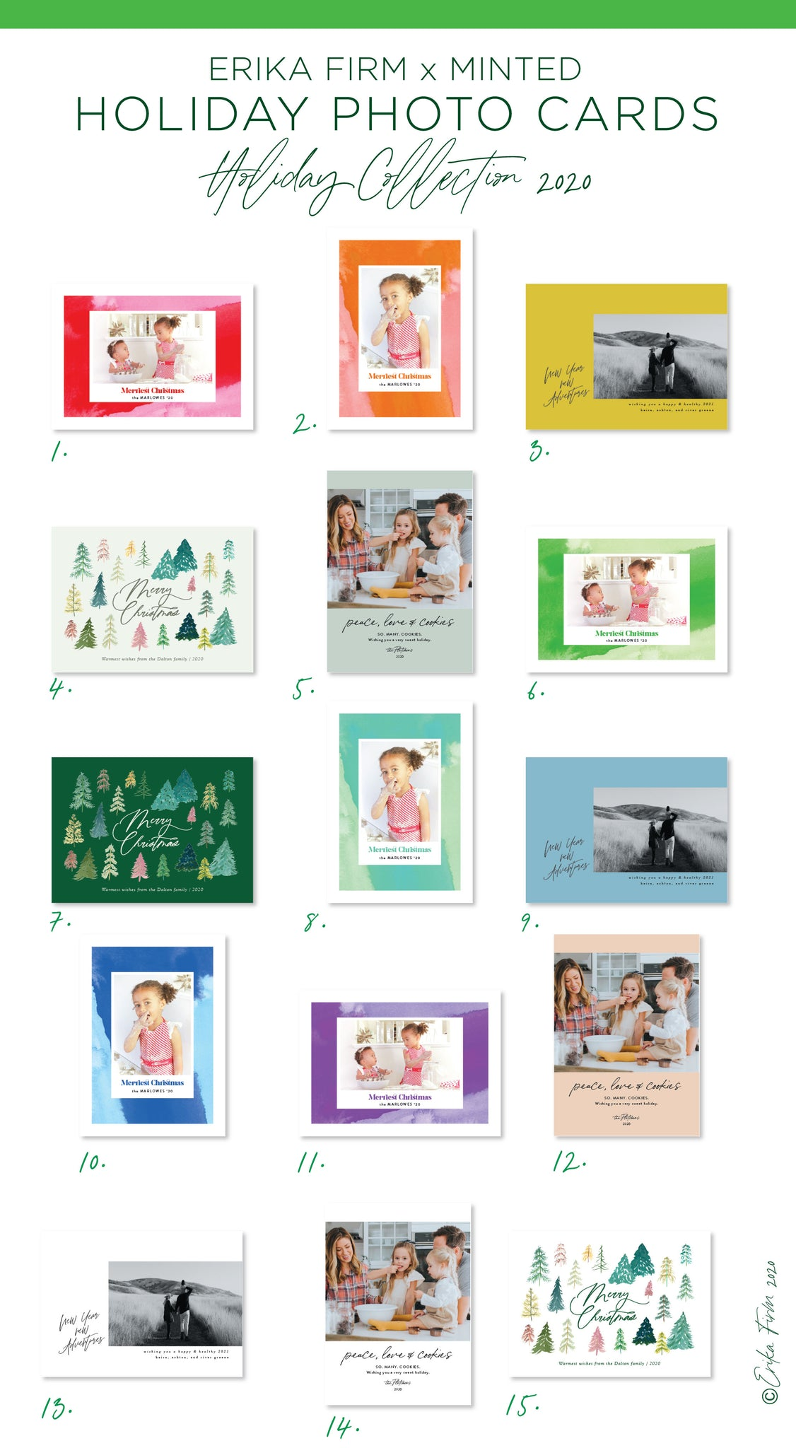 Erika Firm x Minted Holiday 2020 Photo Card Collection