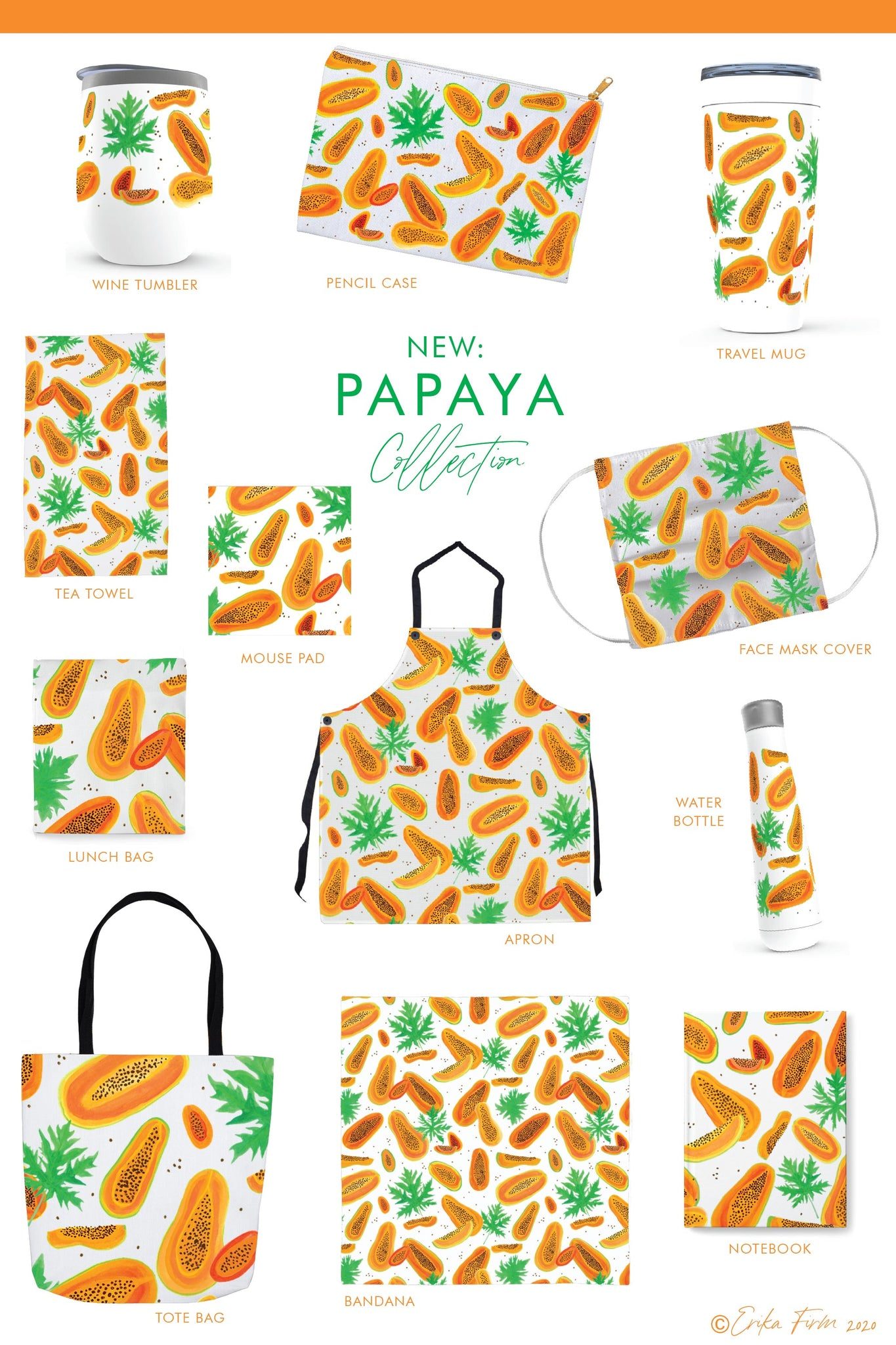 New Papaya Pattern Collection of face masks, tote bags, tea towels, aprons, notebooks, water bottles, travel mugs, and more, by South Carolina artist Erika Firm