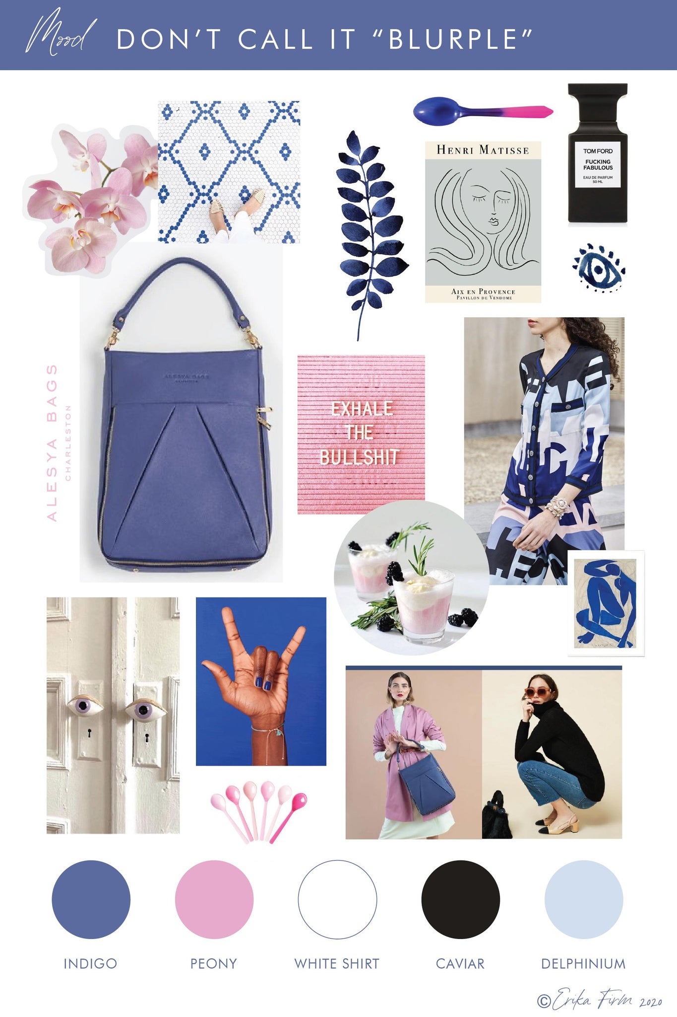 Color Palette Mood Board Don't Call it Blurple by Erika Firm featuring Indigo Laptop Bag by Alesya Bags