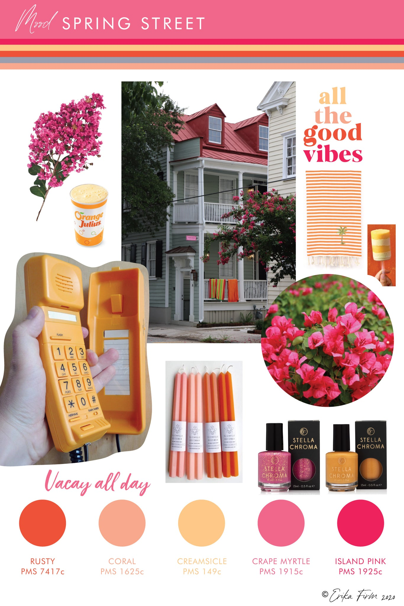 Mood Board Spring Street Charleston South Carolina by Erika Firm Rusty orange, coral, creamsicle, crape myrtyle, and island pink