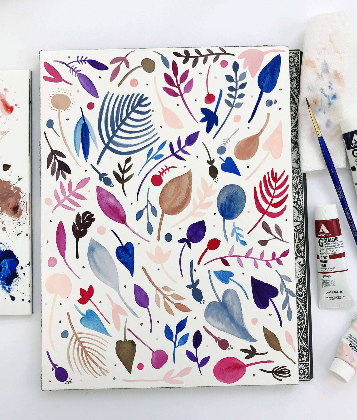Violet and navy and pink neutral leaf botanical pattern painting by Erika Firm
