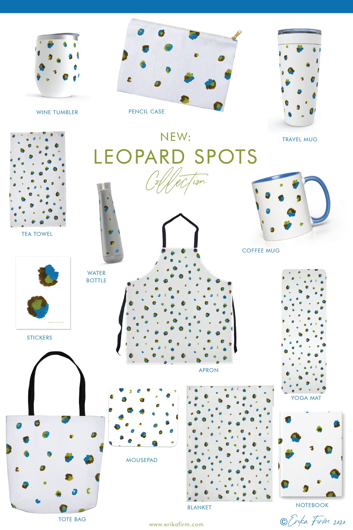 Leopard Spots Pattern Collection of drinkware, tea towels, yoga mats and gifts by Erika Firm