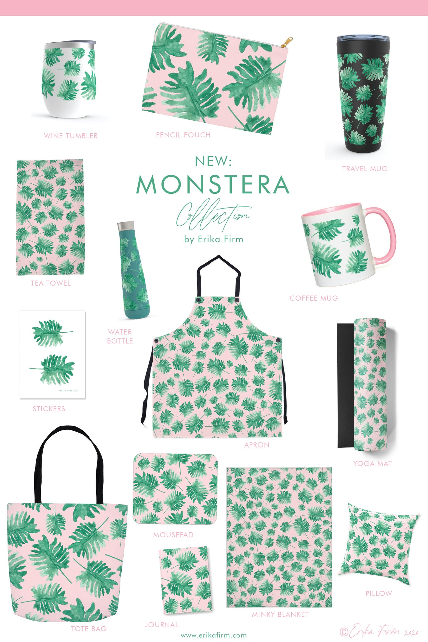 Monstera Leaf Plants on Pink gift collection by South Carolina artist Erika Firm